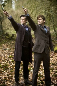 Matt Smith and David Tennant with some trees