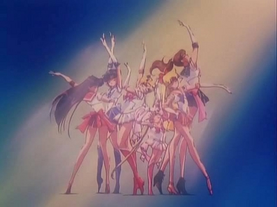 Sailor moon and the scouts posing :D