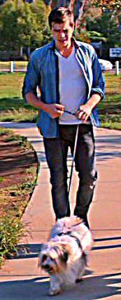 Matthew walking a dog :)