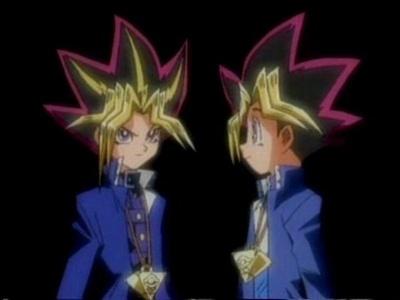 Yami Yugi and Yugi Moto (Yu-Gi-Oh!) both wearing my favorito color, blue ;)