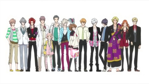 All 13 of the boys are brothers (two adopted) and the girl in the middle is their step sister... anime : Brothers Conflict