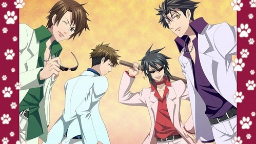 Nagi Ichinose from Nyan Koi She's the one in red. All the rest are guys.