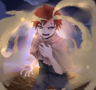 Gaara (Naruto) thêm when he was younger, before meeting Naruto.