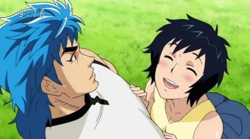 Rin blushing upon seeing her major crush Toriko