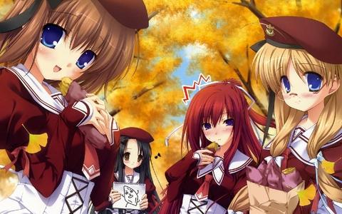 日本动漫 girls enjoying the peace of Fall. <3