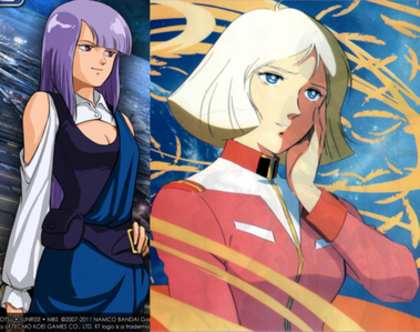 Roux Louka from Gundam ZZ(Left) and Sayla Mass from Mobile Suit Gundam(Right) Anyone mind answering these? Gundam ZZ Compilation Movie question: http://www.fanpop.com/clubs/giant-robots/answers/show/530239/gundam-zz-compiled-films-what-should-changed Future Characters and Mobile Weapons in the 王朝 Warriors Gundam series: http://www.fanpop.com/clubs/dynasty-warriors-gundam/answers/show/534472/what-playable-characters-mobile-weapons-would-like-play-next-game-after-rebirth