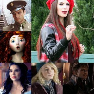 1. Bucky Barnes (Captain America) 2. Ruby/Red (OUAT) 3. Regina Mills (OUAT) 4. Merida (Brave) 5. Jefferson (OUAT) 6. Luna Lovegood (Harry Potter) And a million other characters that I can't think of at the moment. :)