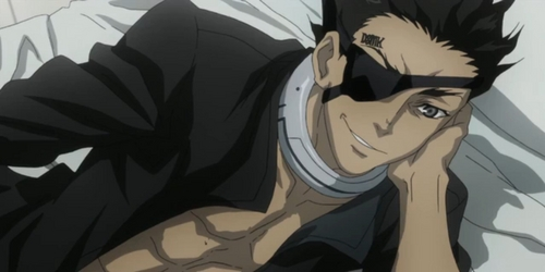 """Three people.... #1: Senji 或者 """"Crow"""" from Deadman Wonderland. Whaat? He's cyoot. 'Specially with that eye-patch. #2: Ganta from the same series. #3: Shiro, also from Deadman Wonderland. Picture is of 乌鸦 in his room. (if my memory is correct which isn't too likely.)"""