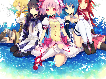 "I expected Puella Magi Madoka Magica to be one of those anime series that put too much emphasis on the ""power of friendship"" theme. I am ashamed to say it but that judgement may have been due to its art style (different from the fan art displayed below). Little did I know that PMMM is one of the most truly moving anime series and one of the most absolutely [i]beautiful[/i] in its concepts and the themes of drawn out despairing and self-discovering. Not only did I change my mind about the art style when I got a better look at it and saw how it was used to contrast what we see and what is actually Puella Magi Madoka Magica but the development seen in some of the heroines throughout whether they were broken oleh their situation atau became stronger for someone else moved me to tears. It's still not for everyone but it meant a lot to me; therefore, I, myself can't help but gush about it all the time. I know that my keterangan makes it sound cliche but it's really a one-of-a-kind gem in the world of anime. x3 <3"