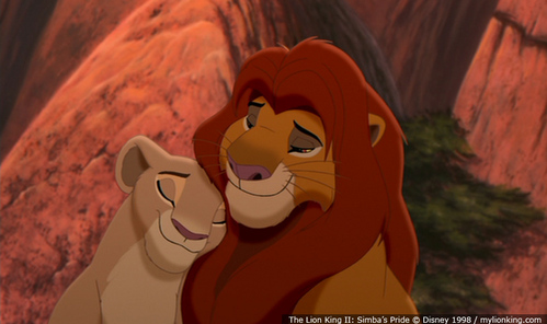 Obviously he does, Nala is his mate and queen. He loves her. that's how Kion came along. Simba and Nala known each other most likely when they were infants.