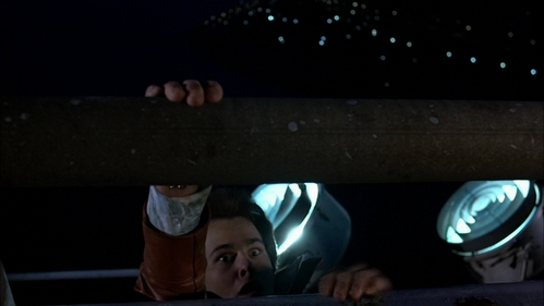 John's co-star, Paul Pape with his eyes wide open pretending to fall off the bridge. :)