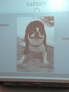 This picture of a dog on a powerpoint because I thought it was cute.