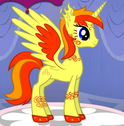 Name: Solare LightBringer Gender: Female Cutie Mark: Three Suns Hobbies: She loves racing, and annoying her twin sister! Personality: Spunky, adventurous, Wanderlust, Danger seeker Special Fact: She and her twin sister are the balance between night and day, and আগুন and water.