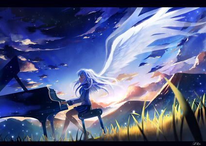 Kanade Tachibana and I both play piano. At least, I think she plays piano... I don't think that she ever has, other than the opening, but whatever. Close enough.