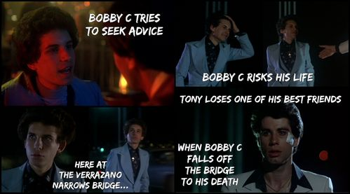 John Travolta as Tony Manero in the film Saturday Night Fever, loses one of his best friends, Bobby C (Barry Miller) after having depression from not getting any Совет from his Друзья about his pregnant gf to get an abortion.
