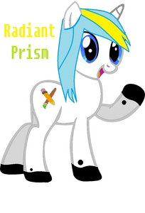 """Name Of OC: Radiant Prism Age: 17 Gender: Female Race: Unicorn Likes: Drawing, Writing, Computers Dislikes: Paper Cuts, Running out of paint Friends: None (Forever Alone :c) Family: An OC I made, চেরি Drops (Sister) Cutiemark: A Pencil and Paint Brush Backstory/Info: When she first came to Ponyville from Manehattan, almost everyone in class bullied her for being a blank flank. It was horrible. Each night she would say to herself, """"I am not going back there."""" Yet, she always did, not knowing why. Then one day, it was art time at school. She drew AMAZING roses, animals, and some ponies (Celestia, Her big sis, DJ PON3, and Luna). But then, the other artist in class, Mistdrop, challenged her to a draw-off! They both drew amazing things, (she drew a টাট্টু she created in the back of her mind, Rose Streak) and right when the judge, (a যেভাবে খুশী schoolfilly) announced the winner, it was Radiant Prism! And, right after, she got a Cutiemark! The End"""