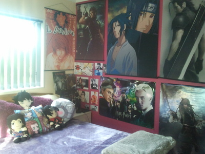 This was taken months ago..... It was clean then x3 My room is tiny....literally just enough room for my bed, thats it hahah The other side is just another دیوار with scrolls and posters piled on it :3
