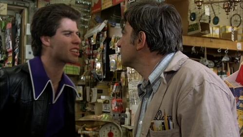 "John (Tony Manero) really pissed at his boss - Mr. Fusco (boss): ""You do it, you're fired."" Tony: ""I'm doing it."" Mr. Fusco: ""Then you're fired!"" Tony: "" Then fuck you, Asshole!"""