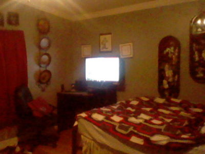 "Sorry not the best picture. My 3ds' camera is a buttface when there's no good lighting ('twas at night when I tic this pic) In my room are: Japanese decorations, plates, pictures and lil ""poster"" type things to the right. My بستر and huge TV."