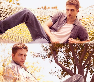 Robert outside in 2 different photoshoots<3