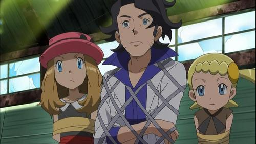 Prof Sycamore, Bonnie, and Serena from Pokemon.