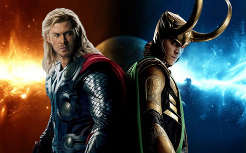 here is a very cool pic of Chris Hemsworth and Tom Hiddleston as Thor and Loki<3