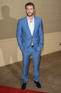 Liam Hemsworth in a blue suit<3