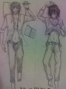 So here's mine! ^^ The one on the left is Light and the one on the right is L, both from Death Note. :))