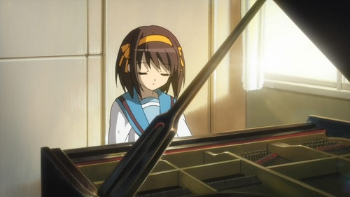 Haruhi Suzumiya plays the पियानो and so do I. (Well at least in the first opening song.)