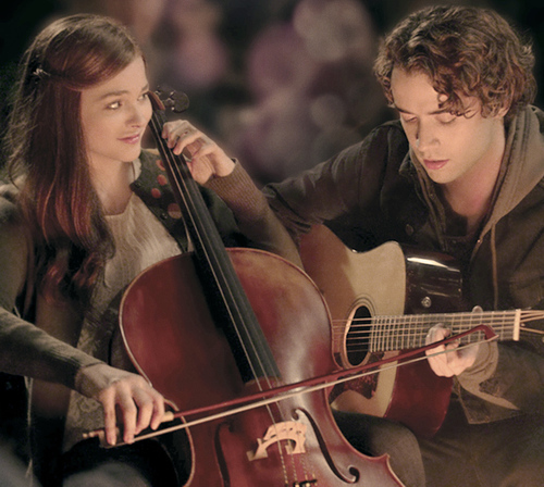 Chloe Moretz playing the cello and Jamie Blackley playing the guitar,from a scene from If I Stay<3