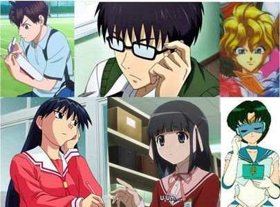 Update: Ok, finished my list. Males: Eiichiro from Baby Steps Switch from Sket Dance Haruto from Haunted Junction Females: Sakaki from Azumanga Daioh Shiori from The World God Only Knows Sailor Mercury from Sailor Moon