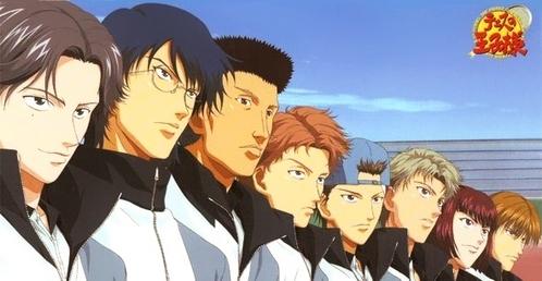 Hyoutei Regulars in Prince of Tennis...There're 9 of them and each have different hair colour.... Keigo Atobe - purplish black(more like lavender au grey), Yuushi Oshitari - blue, Jirou Akutagawa - orange, Gakuto Mukahi - dark red, Ryou Shishido - dark brown, Choutarou Ootori - silvery grey, Munehiro Kabaji - black, Wakashi Hiyoshi - orange-light brown & Haginosuke Taki - chestnut brown... Here: http://princeoftennis.wikia.com/wiki/Hyotei_Academy