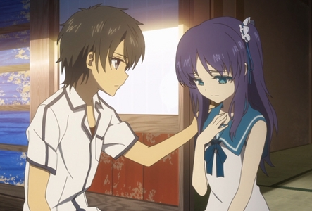 1. Shinsekai Yori - Saki and Maria 2. Mawaru Penguindrum - Ringo and Shouma 3. Bakemonogatari - Araragi and Senjougahara 4. Steins;Gate - Okabe and Kurisu 5. Fate/Zero - N/A 6. Darker than Black - Hei and Yin 7. Code Geass - Suzaku and Lelouch 8. Nagi no Asukara - Chisaki and Tsumugu (pic) 9. Shiki - Tohru and Natsuno 10. Psycho Pass - N/A