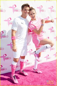 Matt wearing rosa socks and shoes(for breast cancer awareness month)<3