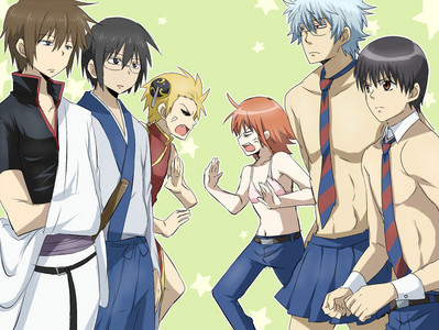 Try Gintama and Daily lives of Highschool boys X3
