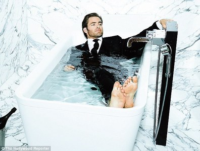 Chris Pine fully clothed in water<3