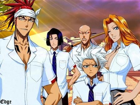 Hitsugaya & Team (Bleach) Toshiro, Renji, Ikkaku, Yumichika & Rangiku in school outfit..................eh he he eh