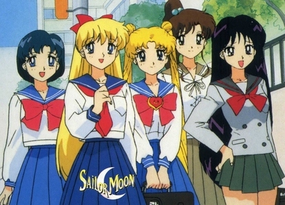 Girls from sailor Moon in their school outfits.