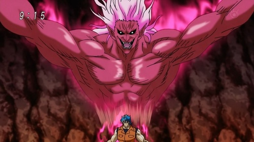 Toriko, one of the Four Heavenly Kings (along with his Appetite Demon seen above him), definitely has GOD-LIKE powers ;)