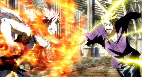 Natsu vs Laxus (Fairy Tail) I was actually between this one and the Natsu vs future Rogue...but for some unknown reason I chose this one Cx