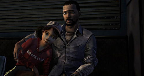 Lee and Clementine from The Walking Dead Game.