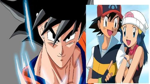 From left to right: goku from DBZ Ash and Dawn from Pokemon.
