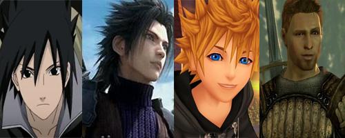 Favourite Аниме character: -Sasuke Uchiha (Naruto) Favourite game characters: -Zack Fair (FFVII) -Roxas (KH) -Alistair (Dragon Age: Origins)