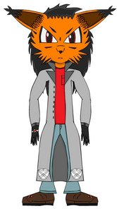 Name: Melvin Gearsmo Species: Nanite being/Lynx Age: 16 Occupation: He has none. he's practically a hobo. Personality: Sarcastic and somewhat cynical, but very caring and loyal to certain individuals. Abilities: Red Nanite manipulation