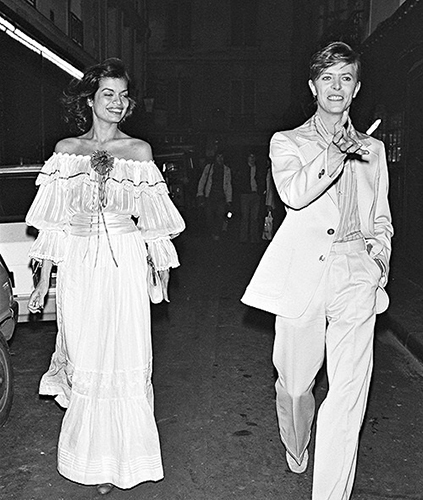 Bowie and Bianca Jagger - funny that he and Mick shared even wives.....