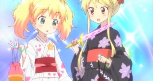 Here is Alice (a British girl) in a kimono! She is from Kiniro Mosaic.