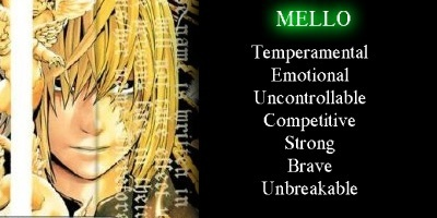 I got Mello. It surprised me, although I already knew I was a lot like him, because it's been awhile since I've seen/read/ been active in the DN fandom, and I had no idea who I'd be. Lol, but really, Mello is me in a nutshell.