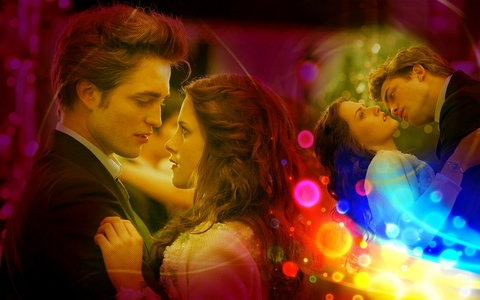 my beautiful stunning Robsten with colored lights<3