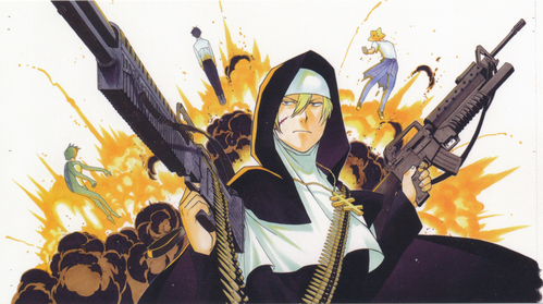 Sister from Arakawa under the bridge was once a soldier XD ~Was not really clear what war he fought but he dicho he was a soldier.... though he did also dicho he was a mercenary....