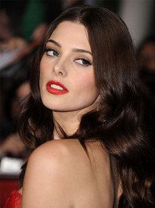 Ashley Greene wearing lipstick<3
